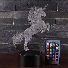 Tierisches Einhorn 3D Lampe USB LED Nachtlicht 7