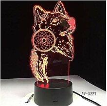Tierwolfdekoration 3DLED Nachtlicht 7 Satyr Design