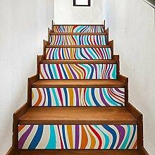 TIEZHI Treppe Aufkleber DIY Farbe Streifen Fliesen