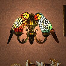 Tiffany Glasmalerei Papagei Retro-Wohnzimmer Wandleuchte Schlafzimmer Nachtwandleuchte Bar Cafe Club