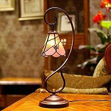 Tiffany-lampe/Studie Lampe/Schlafzimmer Bett Lampe/Europäisch,Ländlichen,Mode,Einfache Stereo,Glas Tischleuchten-pollen-A