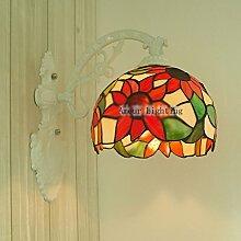 Tiffany-Lampen Benommen europäische moderne minimalistische Wandleuchte Spiegel vorderen Leuchten Badezimmerwand-Lampe leuchtet Sonnenblumen