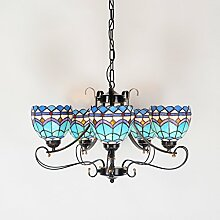 Tiffany-Lampen Continental im mediterranen Stil Wohnzimmer Kronleuchter Tiffany Beleuchtung Atmosphäre Schlafzimmerlampe retro amerikanisches Land Schmiedeeisen