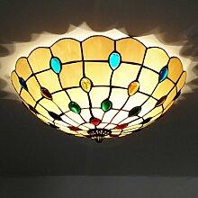 Tiffany-Lampen/Schöne Deckenleuchte im Tiffany Stil Deckenlampe Jugendstil/Farbe Glas Lampenschirm E27*3 inklusive LED Leuchtmittel, Ø50cm
