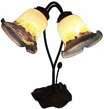 Tiffany Leuchte Lampe Jugendstil Lilien weiss 40cm