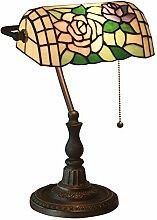 Tiffany Stil Bankerlampe Tischlampe Rose Blumen