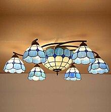 Tiffany Stil Deckenleuchte 6-köpfig Glasmalerei