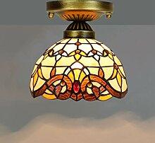 Tiffany Stil Deckenleuchte Retro gelbe Barocklampe