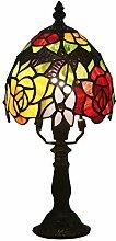 Tiffany Stil Tischlampe 6 Zoll Rote Gelbe Blumen