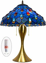 Tiffany Stil Tischlampe Blau Kunstglas