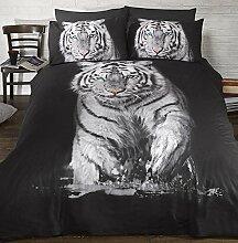 Tiger 3D HD Schwarz Gold Bettwäsche Bettbezug-Set