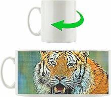 Tiger mit offenem Maul hell, Motivtasse aus weißem Keramik 300ml, Tolle Geschenkidee zu jedem Anlass. Ihr neuer Lieblingsbecher für Kaffe, Tee und Heißgetränke.