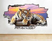 Tiger Sonnenuntergang Tier Vinyl Zertrümmert