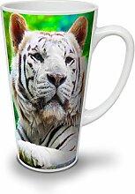 Tiger Tier Foto Tier Weiß Keramisch Latte Becher 17 oz | Wellcoda