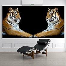 Tiger Wandbild Schwarzer Hintergrund Foto-Tapete
