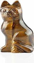 Tigerauge, Naturstein, 5,1 cm, Katzenstatue, Feng