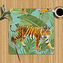 Tigers Tropical Flowers Palm Leaves Tiger Washable
