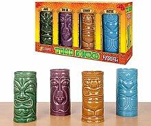 Tiki Becher aus Keramik 4er-Set - Aloha! Let's