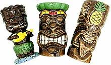 Tiki Becher Cocktail Set von 3 – Keramik Hawaii