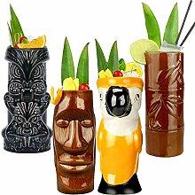 Tiki Becher Cocktail-Set von 4 – große