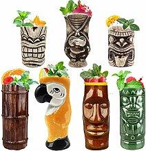 Tiki Becher Cocktail-Set von 7 – Becher aus