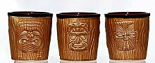 Tiki Becher Mugs Mai Tai, Set mit 3 Ceramic