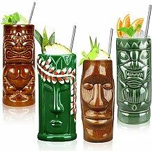 Tiki-Becher-Set mit 4 Bechern aus Keramik,
