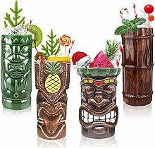 Tiki-Becher-Set mit 4 Stück, Keramik,