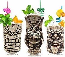 Tiki Mugs Set - Keramik Tiki Becher, Cocktail