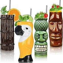 Tiki Tassen 4er Set - Keramik Hawaii Party Becher