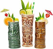Tiki Tassen Set Groß - Tiki Bar Gläser für
