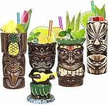 Tiki-Tassen-Set, Hawaii-Party-Becher aus Keramik,