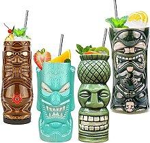 Tiki Tassen Set von 4 — Große Keramik Hawaii