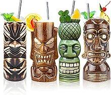 Tiki Tassen Set von 4 — Keramik Hawaii Luau