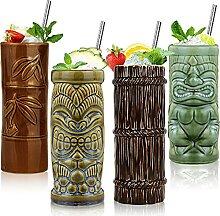 Tiki Tiki Tiki Becher Set mit 4 Cocktailgläsern,