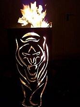 Tiko-Metalldesign Feuerkorb/Feuertonne mit Tiger