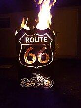 Tiko-Metalldesign Feuerkorb mit Motiv Route 66