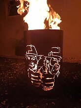 Tiko-Metalldesign Feuertonne/Feuerkorb mit Bud