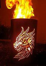 Tiko-Metalldesign Feuertonne/Feuerkorb mit Drachen