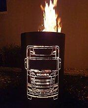 Tiko-Metalldesign Feuertonne/Feuerkorb mit LKW