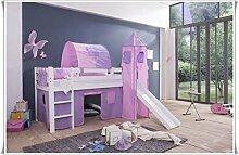 Tilo Kinderbett Hochbett Spielbett mit Rutsche kiefer weiß Cinderella