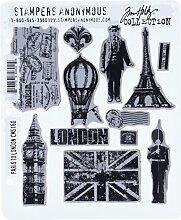 Tim Holtz Haftende Stempelsets, Stampers Anonymous, künstlerische Werkzeuge, Gummistempel Paris To London ro