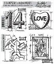 Tim Holtz Haftende Stempelsets, Stampers Anonymous, künstlerische Werkzeuge, Gummistempel Valentine Blueprin