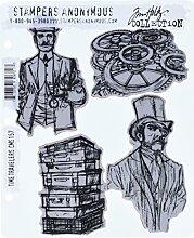 Tim Holtz Haftende Stempelsets, Stampers Anonymous, künstlerische Werkzeuge, Gummistempel Time Travelers ro