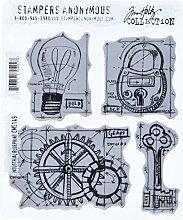 Tim Holtz Haftende Stempelsets, Stampers Anonymous, künstlerische Werkzeuge, Gummistempel professionelle Blaupause blau