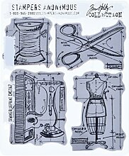 Tim Holtz Haftende Stempelsets, Stampers Anonymous, künstlerische Werkzeuge, Gummistempel Entwurf zum Nähen blau