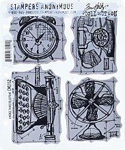 Tim Holtz Haftende Stempelsets, Stampers Anonymous, künstlerische Werkzeuge, Gummistempel Vintage Things Blueprint blau