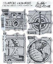 Tim Holtz Haftende Stempelsets, Stampers Anonymous, künstlerische Werkzeuge, Gummistempel Travel Blueprint blau