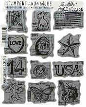 Tim Holtz Haftende Stempelsets, Stampers Anonymous, künstlerische Werkzeuge, Gummistempel Mini-Entwürfe 2 blau