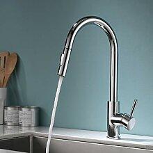 TIMACO Chrom Wasserhahn Küche mit Ausziehbare